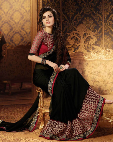 Black Color Georgette Saree - RT-009120