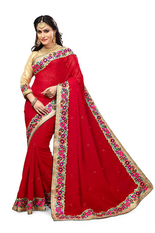 Red Color Georgette Saree - RT-009151