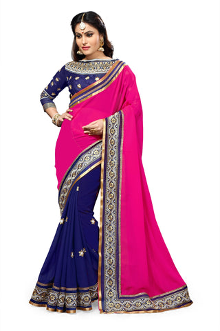 Pink and Blue Color Georgette Saree - RT-009191