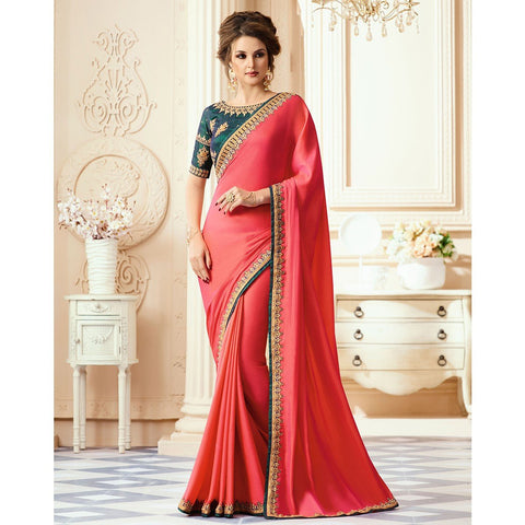 Pink Color Satin Georgette Saree - RT-009309