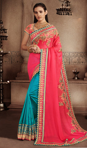Pink and Blue Color Georgette Saree - RT-009314