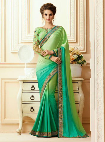 Green Color Georgette Saree - RT-009317