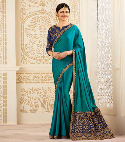 Blue Color Chinnon Silk Saree - RT-009319