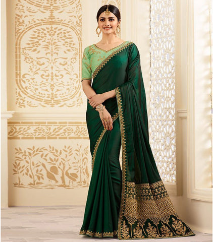 Green Color Satin Silk Saree - RT-009323