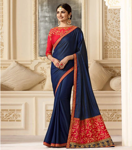 Blue Color Satin Silk Saree - RT-009325