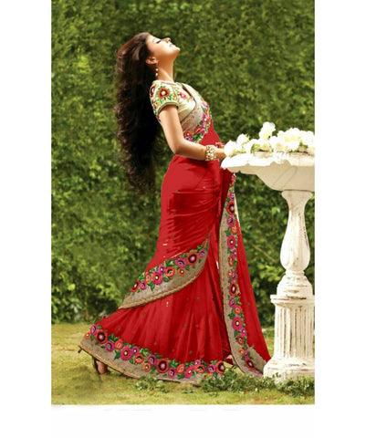 Red Color Georgette Saree - RT-009337