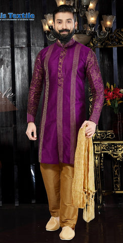 Purple Color Art Dupion Men's Readymade Kurta Pyjama - RT-102