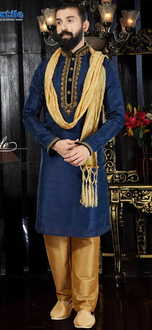 Navy Blue Color Art Dupion Men's Readymade Kurta Pyjama - RT-103