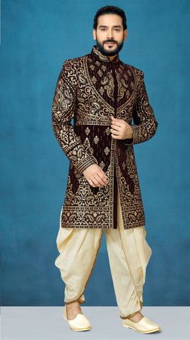 Brown Color Velvet Men's Indo Western Kurta Pyjama - RT-1101