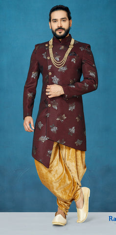 Maroon Color Capricon Men's Indo Western Kurta Pyjama - RT-1103