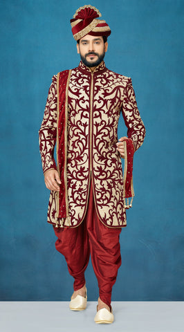 Cream and Maroon Color Velvet Men's Indo Western Kurta Pyjama - RT-1105