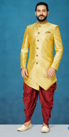 Yellow Color Sunlight Silk Men's Indo Western Kurta Pyjama - RT-1106