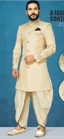 Cream Color Sunlight Silk Men's Indo Western Kurta Pyjama - RT-1110