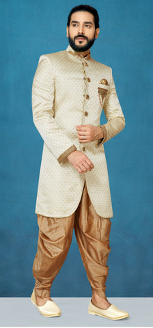 Cream Color Sunlight Silk Men's Indo Western Kurta Pyjama - RT-1111