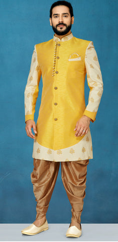Yellow Color Jacquard Silk Men's Indo Western Kurta Pyjama - RT-1113