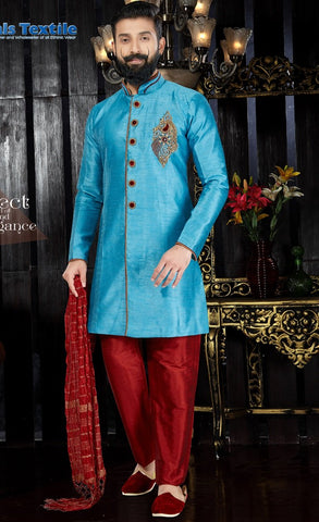 Sky Blue Color Art Dupion Men's Readymade Kurta Pyjama - RT-115