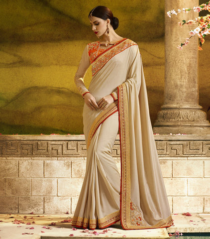 Cream Color Rangoli Silk Saree RT-1167