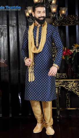 Navy Blue Color Art Dupion Men's Readymade Kurta Pyjama - RT-117