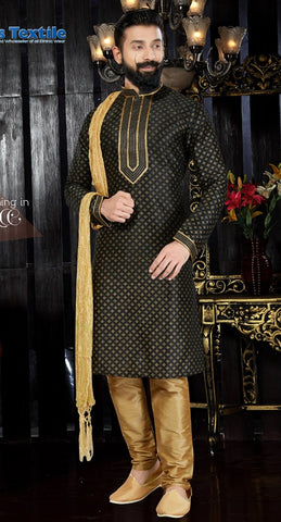 Black Color Art Dupion Men's Readymade Kurta Pyjama - RT-119