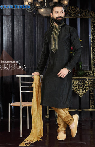 Black Color Art Dupion Men's Readymade Kurta Pyjama - RT-120