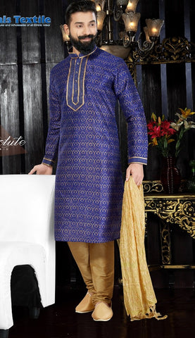Royal Blue Color Art Dupion Men's Readymade Kurta Pyjama - RT-122