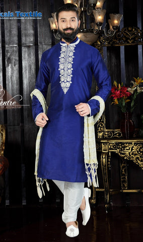 Royal Blue Color Art Dupion Men's Readymade Kurta Pyjama - RT-124