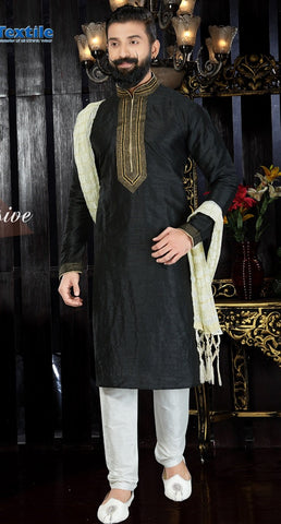 Black  Color Art Dupion Men's Readymade Kurta Pyjama - RT-127