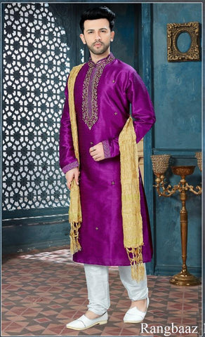 Purple Color Art Dupion Men's Readymade Kurta Pyjama - RT-133