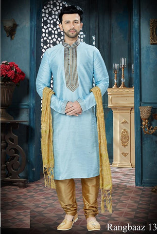 Sky Blue Color Art Dupion Men's Readymade Kurta Pyjama - RT-135