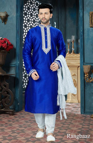 Royal Blue Color Art Dupion Men's Readymade Kurta Pyjama - RT-136