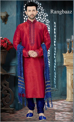 Maroon Blue Color Banglore Silk Men's Readymade Kurta Pyjama - RT-137