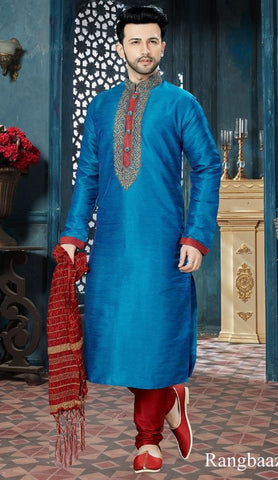 Blue Color Banglore Silk Men's Readymade Kurta Pyjama - RT-139