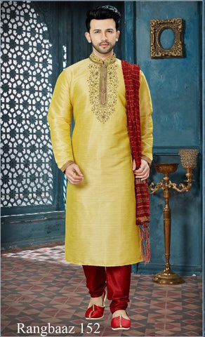 Dark Gold Color Banglore Silk Men's Readymade Kurta Pyjama - RT-152