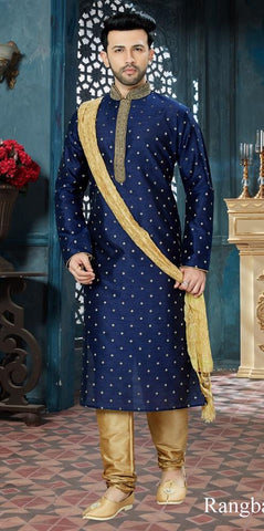 Navy Blue Color Chanderi Jaquard Men's Readymade Kurta Pyjama - RT-154