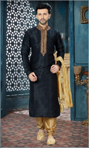 Black Color Art Dupion Men's Readymade Kurta Pyjama - RT-155