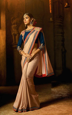 Cream Color Cinon Silk Saree - RT-2118