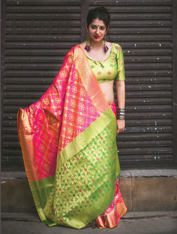 Salmon Pink Color Patola Silk Women's Traditional Saree - RT-31769