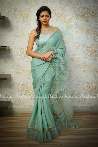 Green Color Georgette Saree RT-323