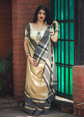 Off White Color Slub Cotton Women's Traditional Saree - RT-32783