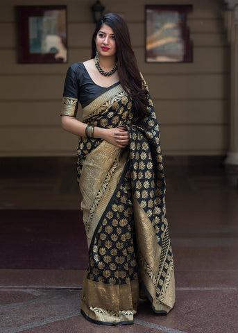 Black Color Banarasi Silk Women's Classical Designer Saree - RT-47921