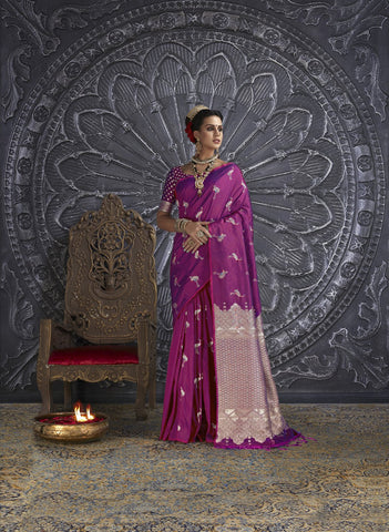 Magenta Color Silk Blend Women's Saree - RT-48803
