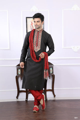 Black Color Jacquard Men's Readymade Kurta Pyjama - RT-501