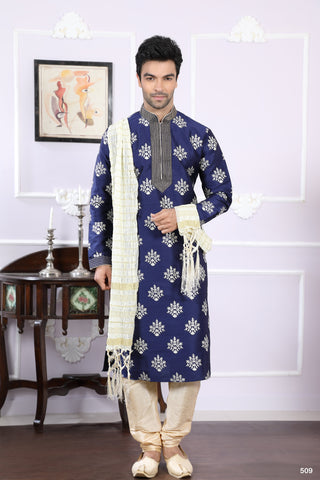 Navy Blue Color Silk Men's Readymade Kurta Pyjama - RT-509
