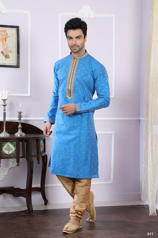 Blue Color Chanderi Jacquard Men's Readymade Kurta Pyjama - RT-511