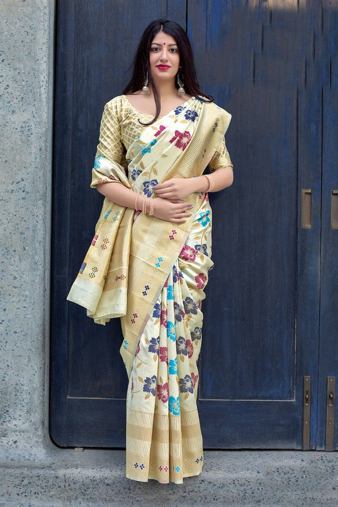 Buy Off White Color Mahakanta silk Women's Jacquard Designer Saree