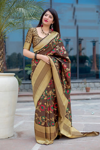 Brown Color Mahakanta silk Women's Jacquard Designer Saree - RT-51603