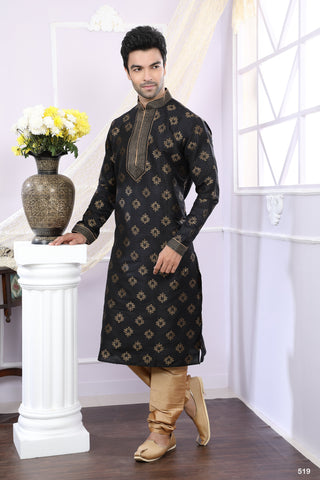 Black Color Jaquard Men's Readymade Kurta Pyjama - RT-519