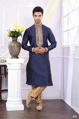 Navy Blue Color Jacquard Men's Readymade Kurta Pyjama - RT-520