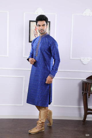 Royal Blue Color Chanderi Jacquard Men's Readymade Kurta Pyjama - RT-523