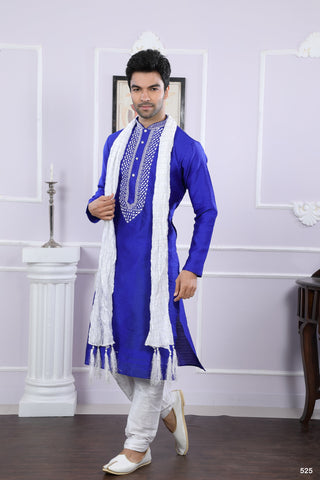 Royal Blue Color Jacquard Men's Readymade Kurta Pyjama - RT-525